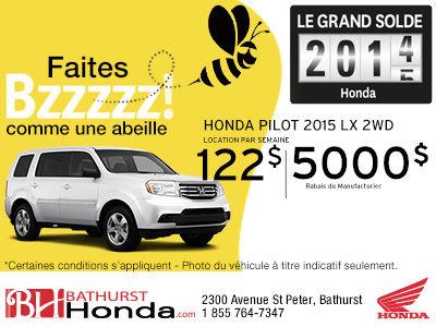 Obtenez un rabais de 5000$ sur le modèle Honda Pilot 2014