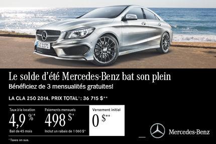 Mercedes Benz CLA 2014 à compter de 498$ par mois