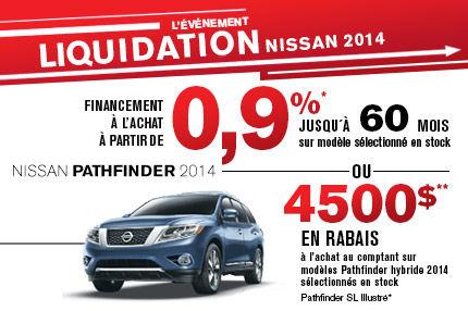 Nissan Pathfinder 2014 avec jusqu'à 4500$ de rabais!
