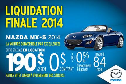 Liquidation de nos Mazda MX-5 2014 à seulement 190$ aux 2 semaines
