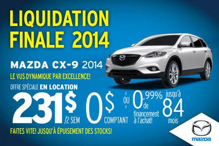 Liquidation de nos dernières Mazda CX-9 2014 à 231$ aux 2 semaines