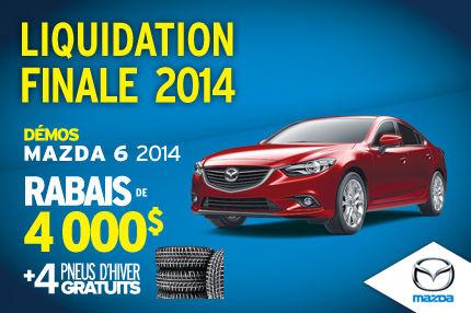 Liquidation de nos dernières Mazda6 2014 avec un rabais de 4000$