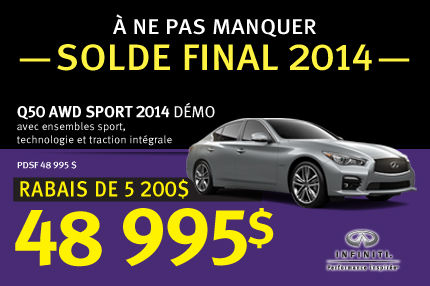 Une Infiniti Q50  AWD Sport Démo 2014 à partir de 48 995$