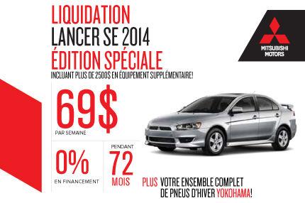 Mitsubishi Lancer 2014 à partir de seulement 69$ par semaine!
