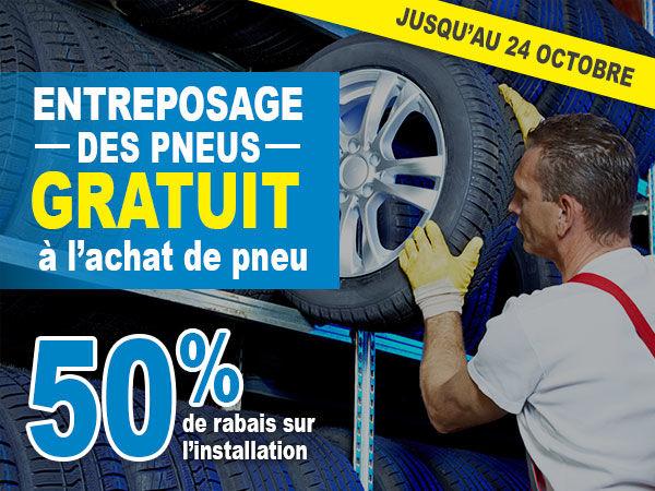 Entreposage de vos pneus gratuits