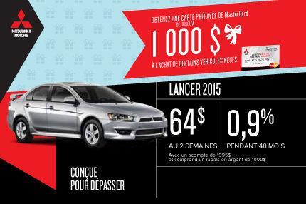 Mitsubishi Lancer 2015 à partir de seulement 64$ par semaine!