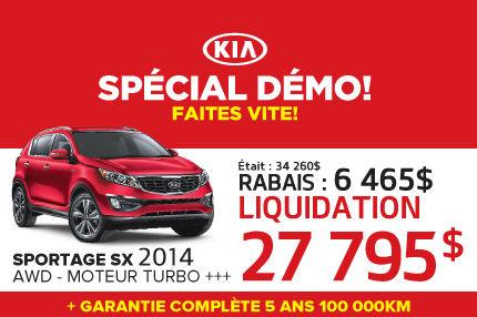 Liquidation des Kia Sportage démos 2014 à 27 795$