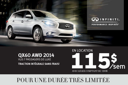Infiniti QX60 AWD 2014 en location à 115$/semaine