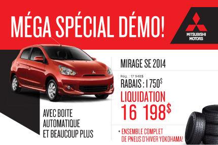 Liquidation des Mitsubishi Mirage 2014: à partir de 16 998$
