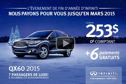 Infiniti QX60 AWD 2015 en location à 253$ aux 2 semaines