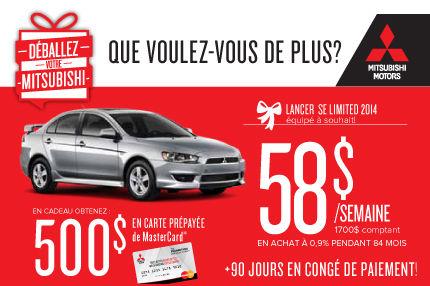 Mitsubishi Lancer 2014 : à seulement 58$/semaine!