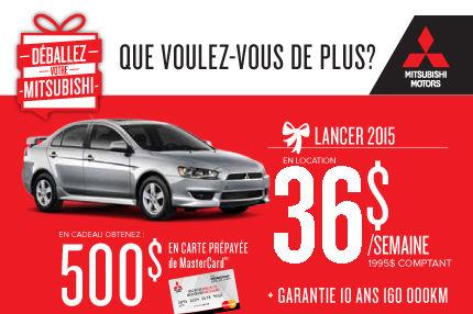 Mitsubishi Lancer 2015 à partir de seulement 36$ par semaine!
