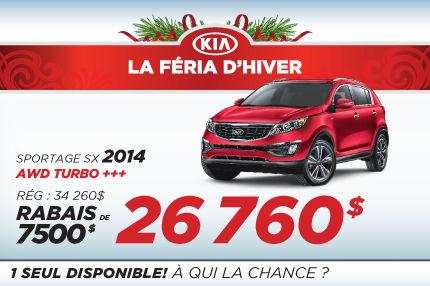 Liquidation de Kia:  Sportage SX 2014 à 26 760$