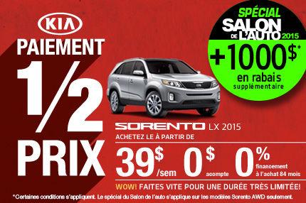 Kia Sorento 2015 à seulement 39$/semaine