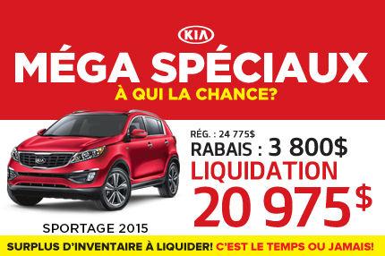 Le Kia Sportage 2015 à compter de seulement  20 975$