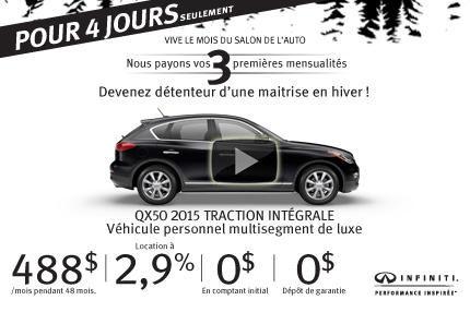 Grande vente 4 jours: Infiniti QX50 2015 en location à 488$ par mois