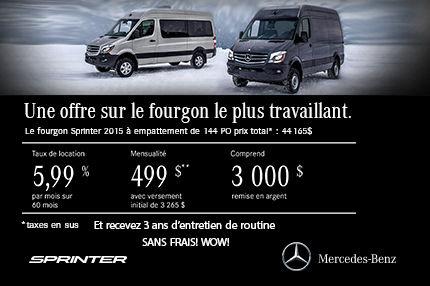 Retrouvez le Sprinter 2014 avec 3000$ de remise en argent