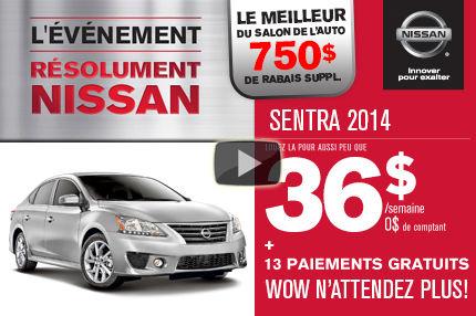 Nissan Sentra 2014 à 36$/semaine. Rabais supplémentaire salon de l'auto