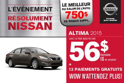 Nissan Altima 2015: paiements de 56$ par semaine. Rabais supplémentaire pour le salon de l'auto.