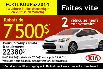 La Kia Forte Koup 2014 en rabais de 7500$