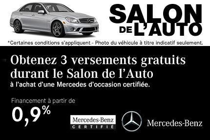 3 Versements Gratuits à l'achat d'une Mercedes certifiée
