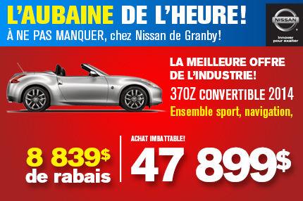Nissan 370Z convertible 2014: Rabais de 8 839$