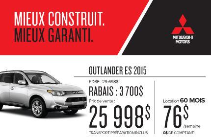 Mitsubishi Outlander 2015 à compter de 25 998$