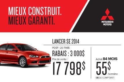 Mitsubishi Lancer 2014 à compter de 17 798$