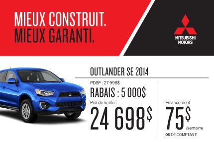 Mitsubishi Outlander 2014 à compter de 24 698$