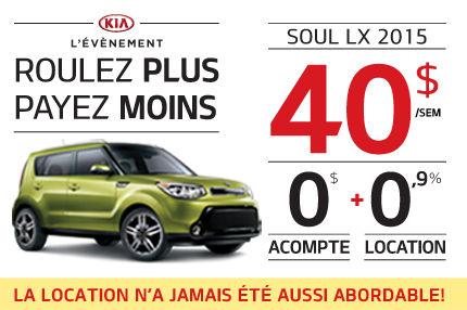 La nouvelle Kia Soul LX 2015 en location à 40$ par semaine