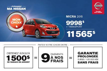 Nissan Micra 2015 à compter de 11 565$