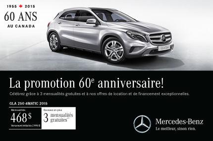 Mercedes-Benz GLA 250 2015: paiements mensuels de 468$