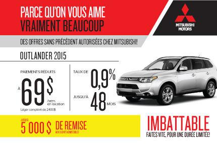 Mitsubishi Outlander 2015 à compter de 69$ par semaine