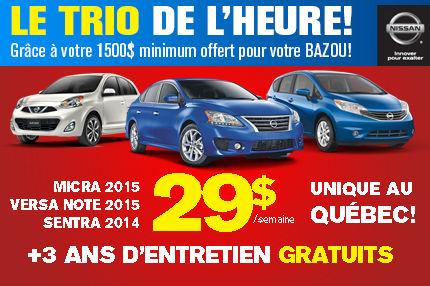 Nissan Sentra, Versa et Micra 2015 en location à 29$ par semaine