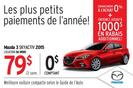 Louez la Mazda3 2015 à seulement 79$ aux 2 semaines
