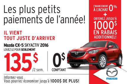 Le Mazda CX-5 2015 en location à 135$ aux 2 semaines