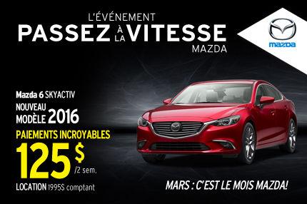 Le Mazda6 SKYACTIV 2016 en location à 125$ aux 2 semaines