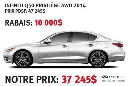 Infiniti Q50 Privilève AWD 2014 à partir de seulement 37 245$