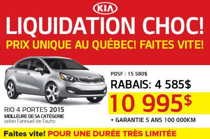 La Kia Rio 4 Portes 2015 à seulement 10 995$