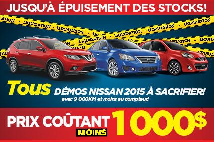 On sacrifie nos Nissan démos 2015 en inventaire!