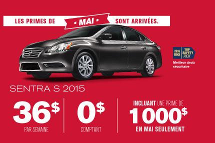 La Sentra S 2015 pour aussi peu que 36$ par semaine