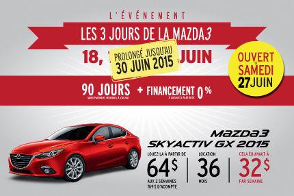 La Mazda berline 3 en location à 64$ aux 2 semaines