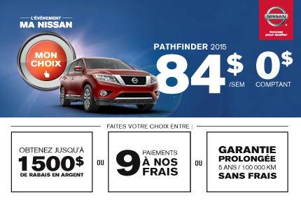 Le Pathfinder 2015 offert à 84$/semaine