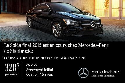 Louez votre toute nouvelle CLA 250 2015 pour 328$ par mois !