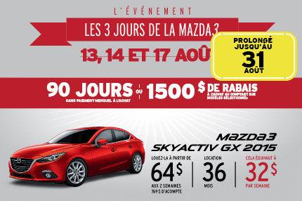 Les 3 jours de la Mazda 3 prolongé