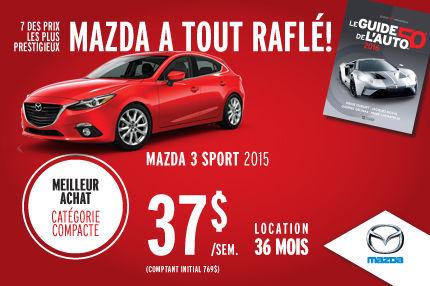 Mazda a tout raflé : Mazda 3 Sport à 37$/semaine
