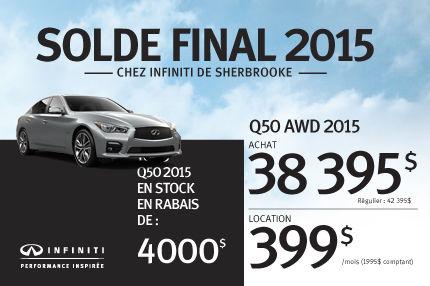 Solde Final 2015: Q50 AWD 2015 en rabais de 4000$