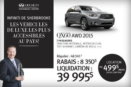 QX60 AWD 2015 en rabais de 8350$