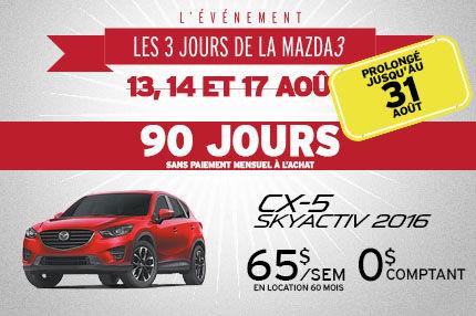 Les 3 jours de la Mazda 3 prolongé CX-5