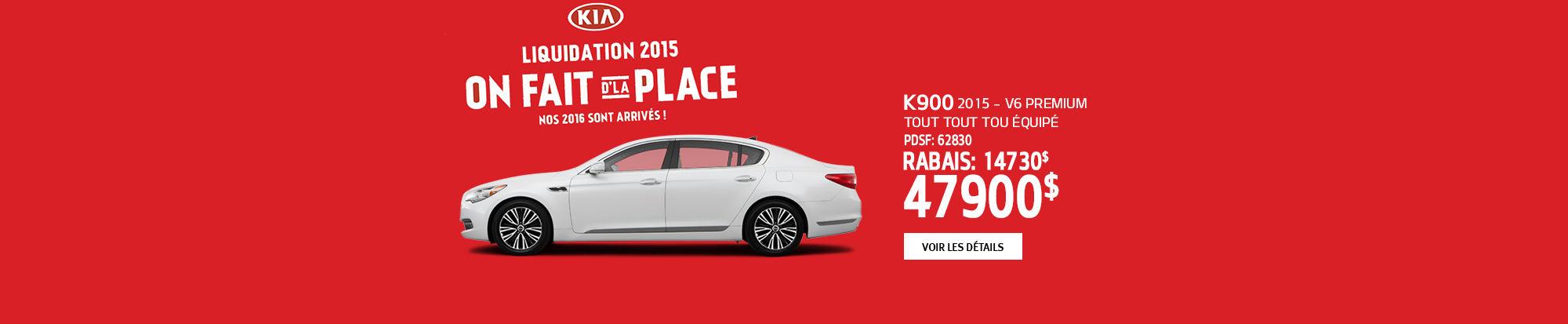 On fait d'la place chez Kia, la K900 2015 avec 14 730$ de rabais!